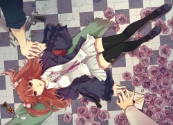 Flower, Ushiromiya Ange, 07th Expansion, Checkered, Checkered Floor, Female, Gun, Laying Down, Male, Purple Flower, Red Hair, Rose, Short Hair, Umineko no Naku Koro ni