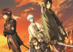 Kotarō Katsura, Gintoki Sakata, Sakamoto Tatsuma, Hideaki Sorachi, Takasugi Shinsuke, Crossed Arms, Crouching, Four Males, Haori, Headband, Japanese Clothes, Katana, Male, Quartet, Samurai, Short Hair, Standing, Sunset, Sword, Traditional Clothes, Weapons, White hair, Gintama