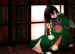 Ai Enma, Flowers, Red Eyes, Female, Solo, White Petal, Jigoku Shoujo
