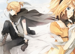 Vocaloid, Couple, Blonde Hair, Green Eyes, Tears, Black Cape, Yellow Dress, Sad