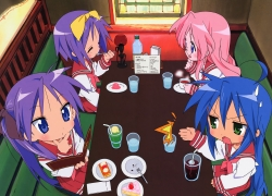 Kagami Hiiragi, Tsukasa Hiiragi, Konata Izumi, Miyuki Takara, School Uniform, Pink Hair, Long Hair, Hair Bow, Glasses, Female, Closed Eyes, Tea, Eating, Official Art, Sweets, Serious, Cake, Blue Hair, Lucky Star, Scan, Uniform, Twin Tails, Sitting, Short Hair, Purple Hair, Bows (Fashion), Blush, Blue Eyes, Ahoge