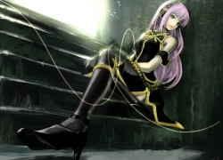 Doublex, Luka Megurine, Vocaloid, Fanart From Pixiv, Pixiv, Solo, Stairs, Pink Hair, Fanart, Female, Long Hair, Sitting