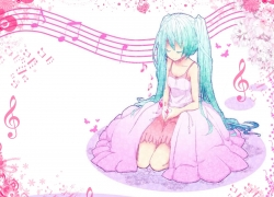 Flower, Vocaloid, Twin Tails, Heart, Teal Hair, Dress, Music Note, Music, Long Hair, Female, Closed Eyes, Butterfly, Hatsune Miku