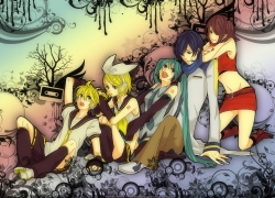 Flower, Kagamine Len, Kagamine Rin, Meiko, Vocaloid, Tattoo, Tie, Short Hair, Tree, Kagamine Twins, Ponytail, Siblings, Tape, Twin Tails, Twins, Blonde Hair, Blue Hair, Bows (Fashion), Brown Hair, Long Hair, Crop Top, Male, Hatsune Miku, Kaito, Family, Female, Hair Bow, Hair Clip, Open Mouth