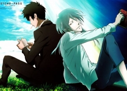 Kougami Shinya, Makishima Shougo, Black Hair, Cigarette, Sitting, Psycho-Pass, Two Males, Book, Duo, Looking At Camera