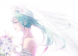 Karasiro, Vocaloid, Wedding Dress, Wedding, Twin Tails, Solo, Side View, Dress, Pixiv, White Dress, Long Hair, Female, Hatsune Miku