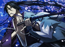 Flower, Hakuouki Shinsengumi Kita..., Idea Factory, Yone Kazuki, Hijikata Toshizou, Black Hair, Weapons, Purple Eyes, Official Art, Yone Kazuki, Japanese Clothes, Male, Samurai, Sword, Scan, Katana, Long Hair, Petal, Ponytail, Shinsengumi Uniform, Solo, Traditional Clothes, Uniform, Hakuouki Shinsengumi Kitan