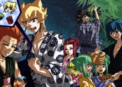 Happy, Aki Izayoi, Yu-Gi-Oh 5Ds, Male, Orange Hair, Red Hair, Short Hair, Spiky Hair, Tanabata, Kimono, Long Hair, Traditional Clothes, Yūsei Fudō, Bruno, Gold Eyes, Crow Hogan, Jack Atlas, Black Hair, Blue Hair, Green Hair, Japanese Clothes, Yu-Gi-Oh!, Blonde Hair, Blue Eyes, Closed Eyes, Female, Group