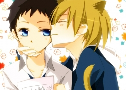 Masaomi Kida, Ryuugamine Mikado, Tsukimori Usako, Two Males, Yaoi, Durarara!!, Fanart, Duo, Pixiv, Blue Eyes, Closed Eyes, Male, Black Hair, Blonde Hair, Blush, Couple, Kemonomimi, Kiss, Nekomimi, Short Hair