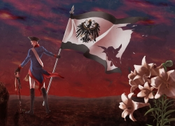 Axis Powers: Hetalia, Flower, K-anzu, Prussia, White hair, Pixiv, Male, Military Uniform, Sword, Lily, Looking Back, Short Hair, Solo, Uniform, Weapons, Albino, Crying, Hat, Flag