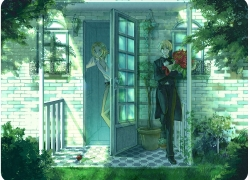 Axis Powers: Hetalia, Flower, France, Nokaku, Studio Deen, United Kingdom, Pixiv, Blonde Hair, Door, Short Hair, Male, Rounded Corners, Suit