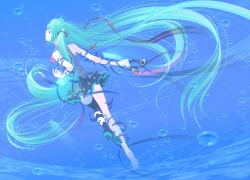 Vocaloid, Long Hair, Twin Tails, Hatsune Miku, Female, Headphones, Water