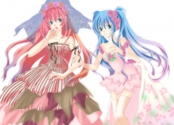 Flower, Luka Megurine, Vocaloid, Pink Dress, Hatsune Miku, Female, Pink Hair, Twin Tails, Dress, Long Hair, Pink Outfit, Rose