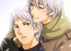 Axis Powers: Hetalia, Pixiv Id 90524, Prussia, Russia, Studio Deen, Gloves, Male, Purple Eyes, Soviet Union, Albino, Short Hair, Two Males, Couple, Duo, Hug, Hug From Behind, Snow, Snowing, White hair, Allied Forces