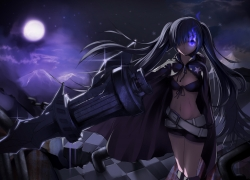 Black★Rock Shooter, Black★Rock Shooter (Cha..., Insane Black Rock Shooter, Weapons, Widescreen 16:9 Ratio, Star (Symbol), Artist Request, Solo, Swimwear, Twin Tails, Wallpaper, Female, Fire, Belt, Gun, Purple Flame, Bikini, Cannon, Long Hair, Moon, Shorts, 1920x1080 Wallpaper, Arm Cannon, Bikini Top, Black Hair, Dark Background, Dark Colors, Midriff, Mountains, Night, Sky, Black Rock Shooter