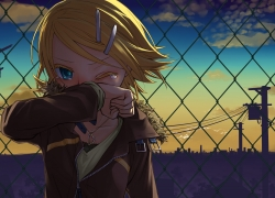 Kagamine Rin, Vocaloid, Short Hair, Blush, Heart, Blue Eyes, Sweater, City, Female, Jacket, Night, Blonde Hair, Solo, Sky, Crying, Closed Eyes, Green Eyes, Hair Clip, Jewelry, Necklace, Sad, Shirt, Junji, Belt