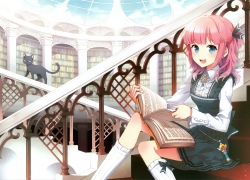 Happy, Nardack, Open Book, Pink Hair, Dress, Library, Stairs, Cat, Reading, Trap, Book, Female, Indoors, Sitting, Solo, Pixiv, Original, Nardack Artworks 2008-201... Artbook, Black Dress, Animal, Black Outfit, Blue Eyes
