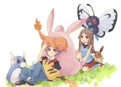Charmander, Dratini, Nintendo, Pokémon, Seto Ao, Wigglytuff, Short Hair, Male, Pixiv, Black Hair, Brown Hair, Animal, Long Hair, Female, Couple, Eevee, Pikachu, Butterfree