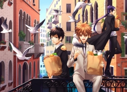 Happy, Hibari Kyoya, Rokudou Mukuro, Tsunayoshi Sawada, Pixiv, Vongola Family, Coat, Brown Hair, Building, Dove, Formal, Groceries, Heterochromia, Little Yellow Bird, Long Hair, Male, Open Mouth, Purple Hair, Serious, Shopping, Short Hair, Standing, Suit, Teeth, Three Males, Trio, Fanart, Sitting, 00111 (Artist), Katekyo Hitman Reborn!, Brown Eyes, Animal, Bird, Black Eyes, Black Hair, Hibird