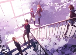 Mikuru Asahina, Flower, Itsuki Koizumi, Yuki Nagato, Haruhi Suzumiya, Haruhi Suzumiya, School Uniform, Female, Gray Hair, Brown Hair, Male, Cherry Tree, Long Hair, Purple Hair, Stairs, Orange Hair, Quintet, Short Hair, Tree, Uniform, Fanart, Kyon, 00111 (Artist), Cherry Blossom
