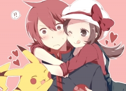 Mitsu Yomogi, Pokémon, Twin Tails, Wink, Question Mark, Pixiv, Hug, Pokéball, Trio, Surprised, Tongue, Male, Hug From Behind, Red Hair, Female, Exclamation Point, ;P, :q, !?, Brown Hair, Pikachu, Heart