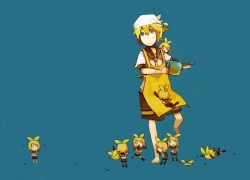 Guraida, Kagamine Len, Kagamine Rin, Vocaloid, Female, Male, Short Hair, Siblings, Twins, Kagamine Twins, Adorably Cute, Blonde Hair