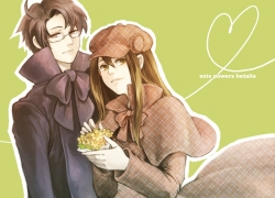 Austria, Axis Powers: Hetalia, Smile, Studio Deen, Couple, Female, Hat, Heart, Long Hair, Brown Hair, Glasses, Black Hair, Duo, Male, Heart Line, Yuuki (Noizia), Hungary