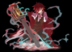 Male, Glasses, Red Hair, Weapons, Grell Sutcliff, Chainsaw, Long Hair, Kuroshitsuji