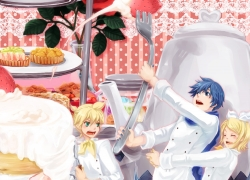 Flower, Kagamine Len, Kagamine Rin, Vocaloid, Yasiro Yuu, Strawberry, Trio, Kagamine Twins, Twins, Sweets, Siblings, Silverware, Tiny Person, Cake, Family, Pie, Chef, Kaito, Rose, Blue Hair, Blonde Hair, Female, Short Hair, Male