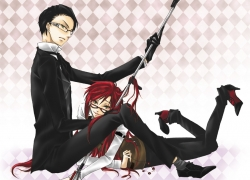 Smile, Square Enix, Gloves, Sitting, Short Hair, Sharp Teeth, Spear, Two Males, Fanart, Weapons, Pixiv, Serious, Grell Sutcliff, Duo, On Stomach, Kuroshitsuji, William T. Spears, Green Eyes, Red Hair, Camellia (Artist), Diamond (Shape), Black Hair, Glasses, Black Outfit, Laying Down, High Heels, Male, Long Hair