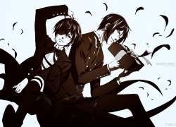 Itsuki Koizumi, Haruhi Suzumiya, Haruhi Suzumiya, White Background, Sitting, Short Hair, Kyon, Cup, Barefoot, Brown Hair, Two Males, Duo, Fanart, Casual Clothes, Male, Phone, Pixiv, Simple Background, Cellphone, Hug From Behind, Hug, Yaoi, Monochrome, 00111 (Artist)