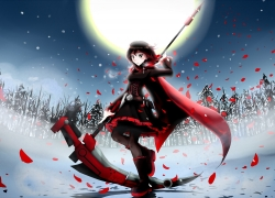 Girl, Winter, Rose Petals, Scythe, Boots, Blush, Tights, Supermoon, Trees