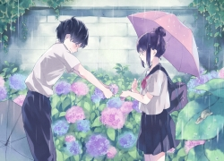 Flowers, Garden, Umbrella, BUTA, Black Hair, Female