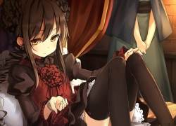Shakugan no Shana, Twin Tails, Thigh Highs, Solo, Sitting, Long Hair, Gold Eyes, Brown Hair, Female, Dress, Serious, Bed, Gothic Lolita, Shana, Nemo (Piisukun)