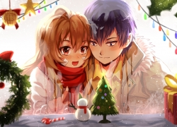 Taiga Aisaka, Christmas, Takasu Ryuuji, Toradora!, Majiang, Black Hair, Blush, Brown Eyes, Brown Hair, Long Hair, Scarf, Winter