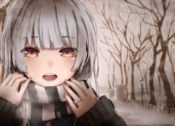 Grey Hair, Girl, Scarf, Winter