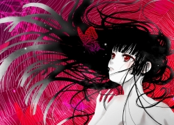 Ai Enma, Red Eyes, Long Hair, Female, Butterfly, Jigoku Shoujo, Fanart From Pixiv, Spider Web, Hime Cut, Yoiyoi