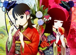 Temari Ball, Ai Enma, Yuzuki Mikage, Red Eyes, Long Hair, Female, Duo, Butterfly, Bamboo, Jigoku Shoujo, Mariko Oka, Studio Deen, Official Art, Two Girls, Traditional Clothes, Short Hair, Hime Cut, Floral Print, Kimono, Chrysanthemum, Black Hair