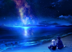 Space, Couple, Night Sky, Clouds, Stars