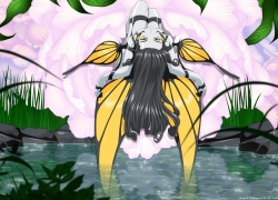 Morgan Le Fay, Ah! My Goddess: The Movie, Flowers, Grass, Water, Gray Hair, Leaves, Wings, Fairy, Yellow Eyes