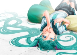 Upside Down, Hatsune Miku, School, Uniform, School Uniform, Laying, Thigh Highs, Pillow, Hair Ribbon, Biting, Green Hair, Mini Skirt, Long Hair