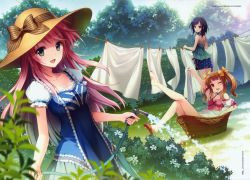 Casual Clothes, Hat, Garden, Red Hair, Twin Tails, Black Hair, Females, Water, Illustration