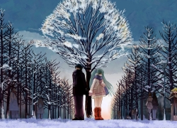 Couple, Snow, Girl, Boy, Romance, Tree, Snowman