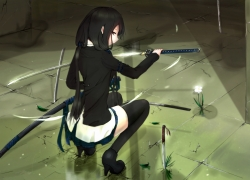 Katana, Thigh Highs, Black Hair, Girl
