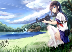 Girl, Black Hair, Gun, War, Weapon, Tank, Clouds, Grass, School Uniform