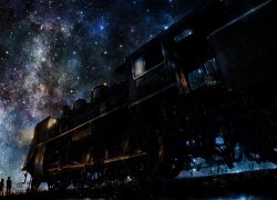 Scenery, Trains, Night, Space