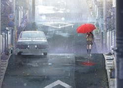Umbrella, Red, Rain, Street, Wallpaper, Anime