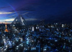Guilty Crown, City, Night, Lights