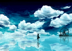 Adorably Cute, Sky, Clouds, Girl, Reflection