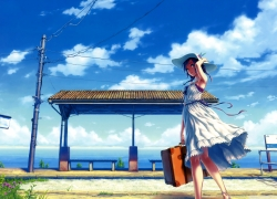 Ocean, Girl, Scenery, Hat, White Dress, Gowns, Sky, Clouds, Alone, Wallpaper, 2560x1600 Wallpaper, Briefcase